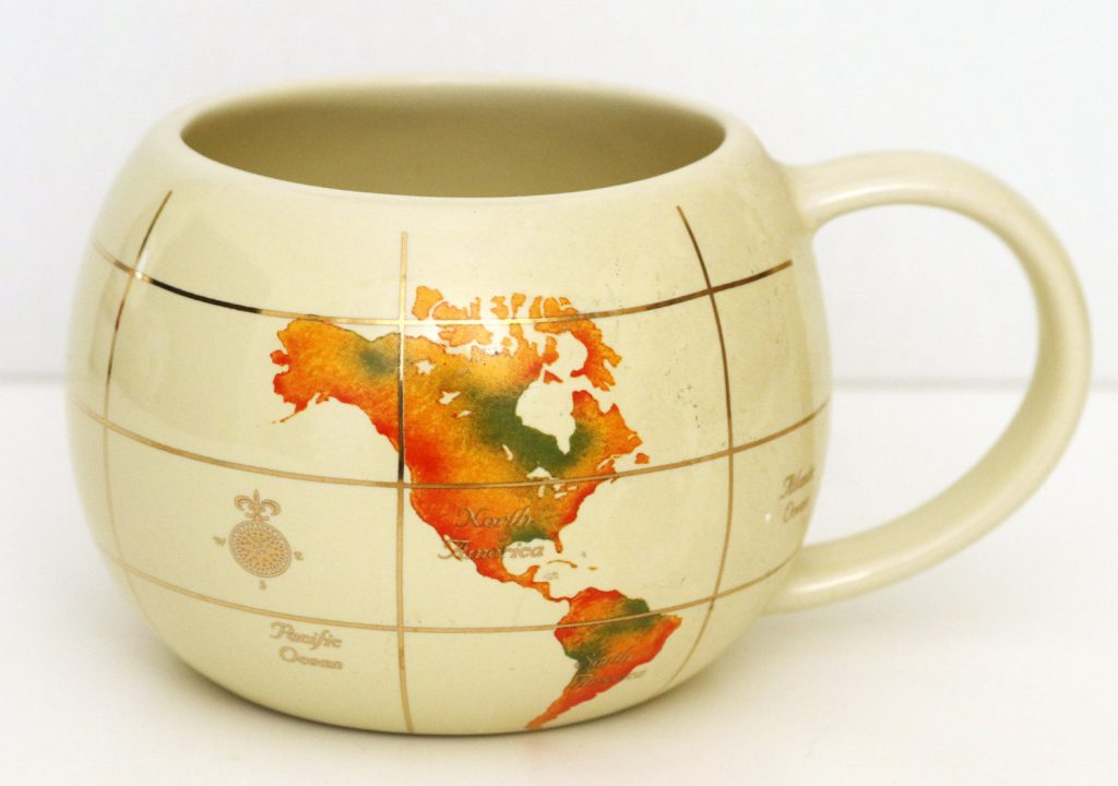 Mugs more maps globes also coffee i love this funky retro world map mug world map collectible cup gumiabroncs Image collections